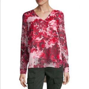 Calvin Klein red floral V-neck blouse